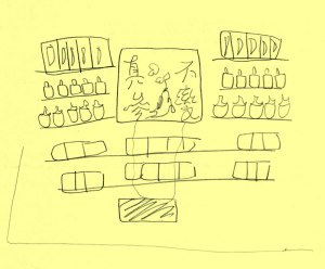 Pencil drawing on yellow paper of an art installation. There are Asian characters in the center, surrounded by shelves of packages.