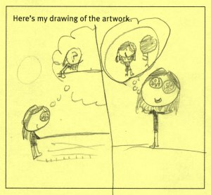 Pencil drawing on yellow paper. The linework suggests it is by a child. There are two panels in the drawing. The first shows a girl with a thought bubble, inside of which is a girl with a question mark on her face. In the second half, the same girl is thinking of a girl standing next to a stick figure with a heart for a head.