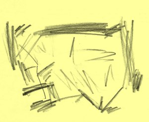 Pencil drawing on yellow paper of scribbles in a roughly rectangular shape, however, no rectangle appears to delineate the painting boundaries. The marks appear to be drawn with the edge of the pencil, not the point, with a gestural, confidant quality.