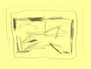 Pencil drawing on yellow paper of an abstract painting. The painting is a landscape-format rectangle, with a series of seemingly random lighter grey and black lines.