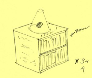 "Pencil drawing on yellow paper depicting a cube, with an interior shelf annotated with ""zines."" On top of the cube is a amorphous dark shape labeled, ""charcoal."" That sits inside a cone of glass. The artist indicated that there are other pieces similar to this that comprise the work, with ""x3 or 4."""