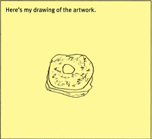 A line drawing of a bagel with cream cheese