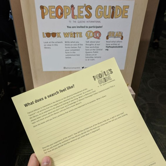 We've created prompts that respond to each of the installations at the libraries.