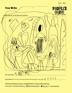 A child's line drawing with shapes suggesting a skyline, a park, a cat, and a bird